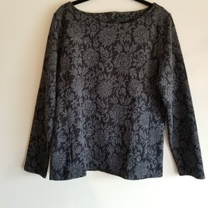 TALBOTS Brocade Patterned Button Back Long Sleeve